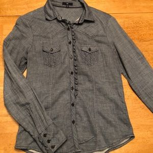 Chambray gap button down with ruffle detail